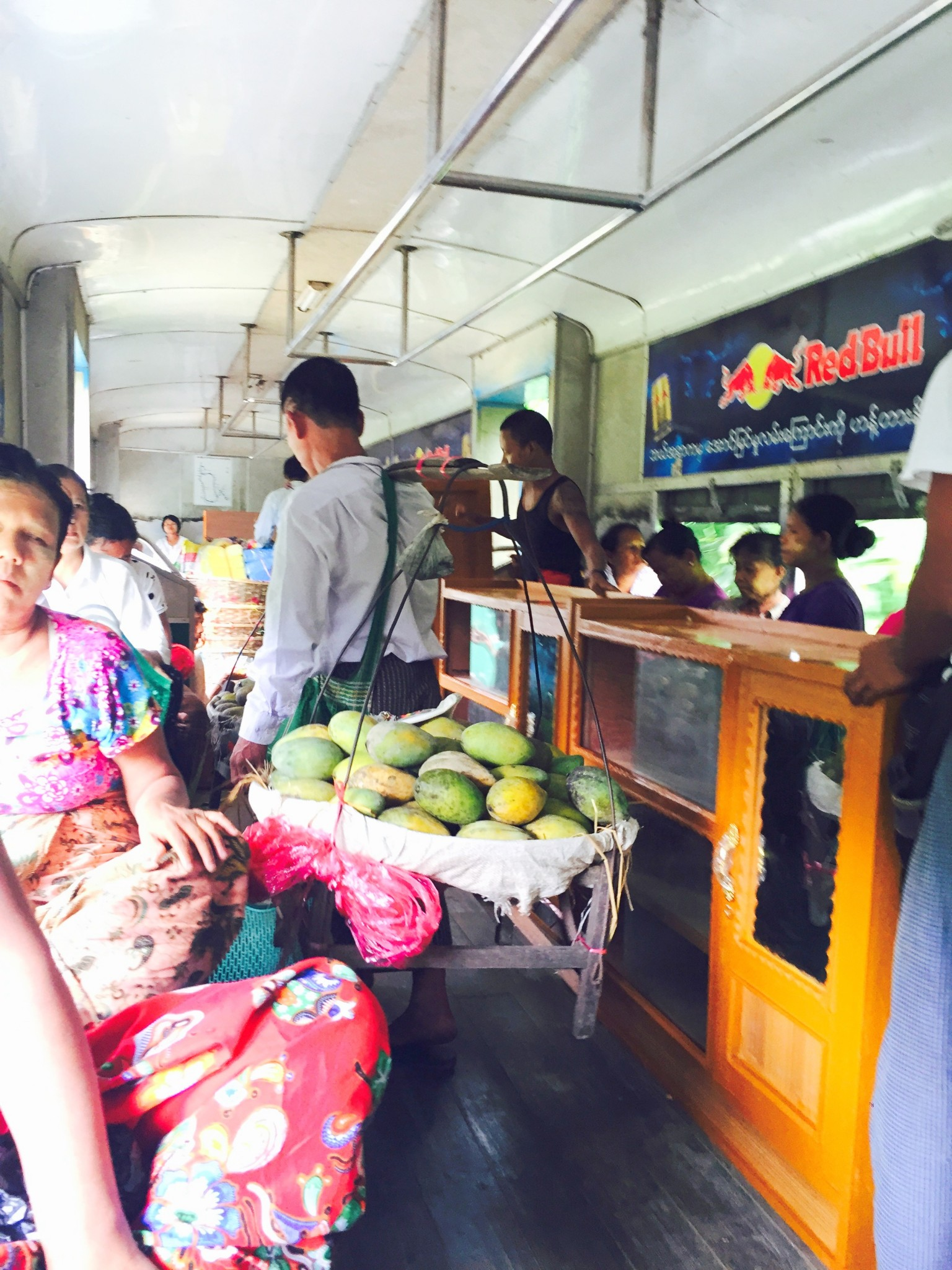 Selling fruits on train