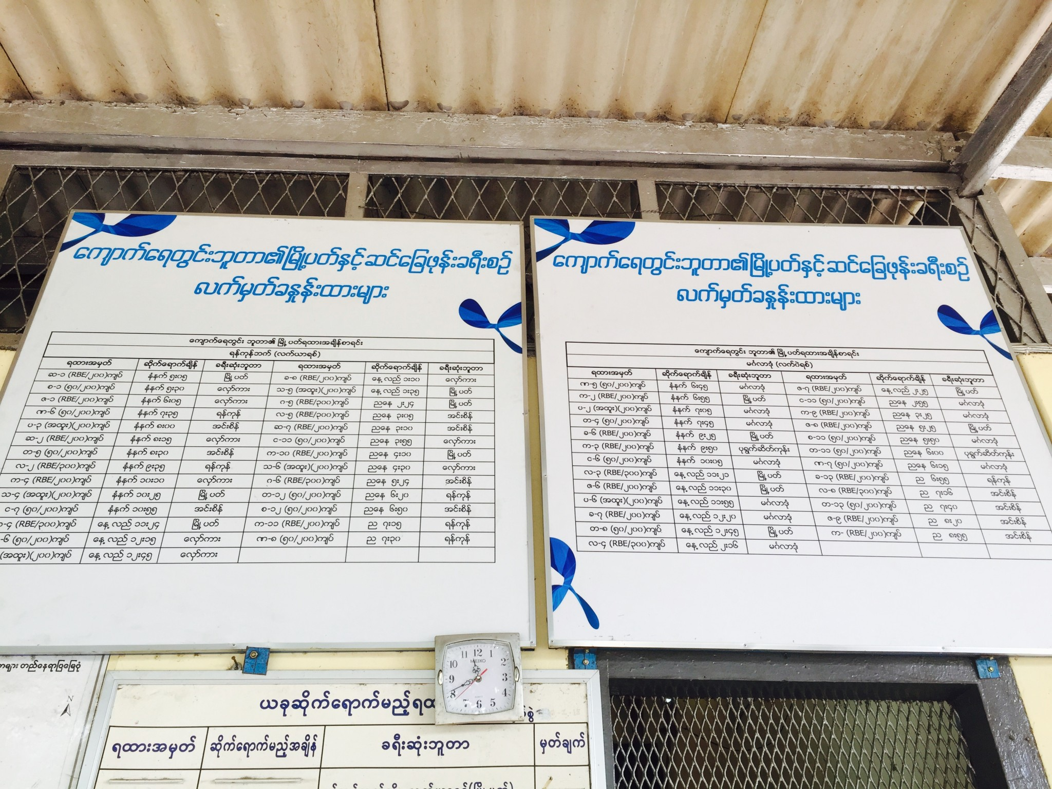 Time Schedule for Circular Train, Yangon